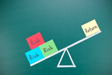 21923588 - return and risk imbalance concept, words and drawing on blackboard