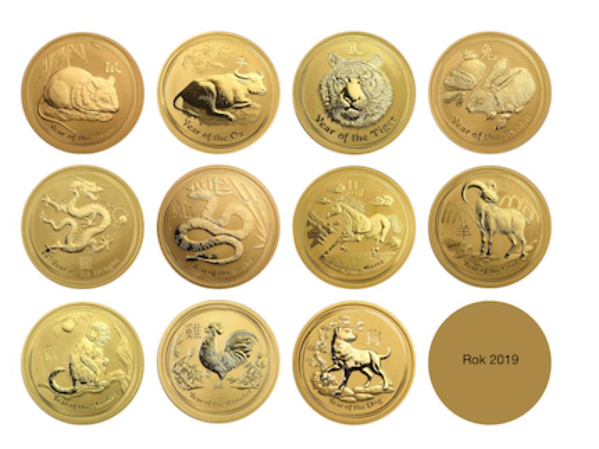 Lunarne mince - Pes - zlato a striebro