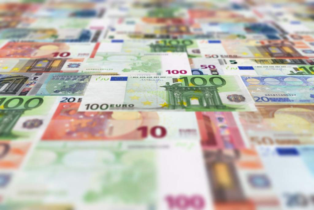 Euro banknotes floor background. The currency, money wallpaper.